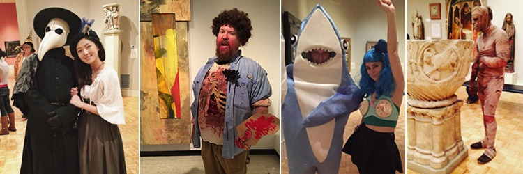 People posing in their Halloween costumes at the MAG Museum of the Dead