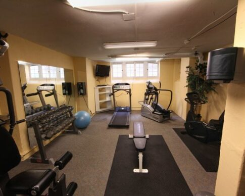 Fitness center with exercise machines and weights