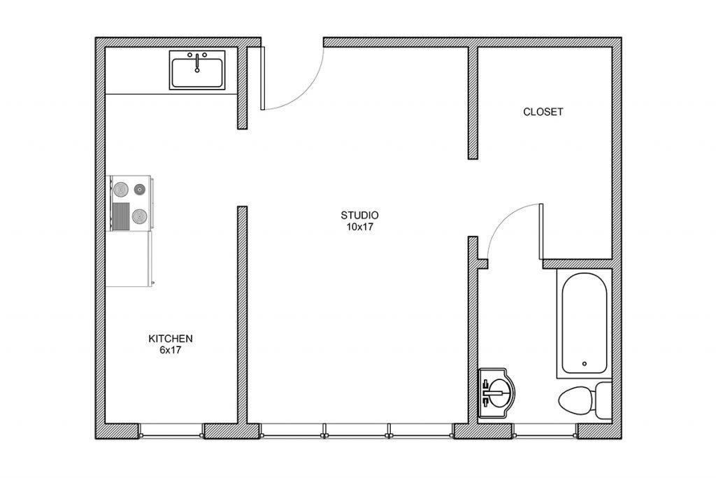 Haddon, Studio, Studio Floor Plan, Rochester NY