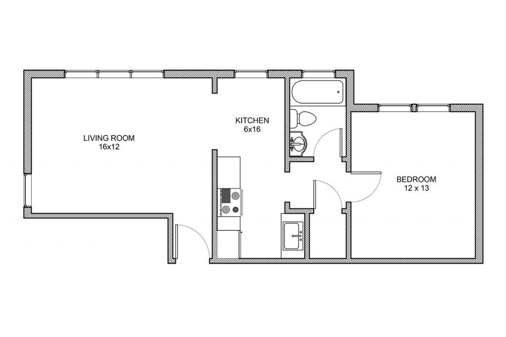 Haddon, One Bedroom Floor Plan, Rochester NY