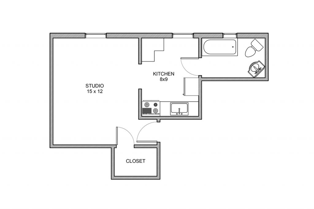Haddon, Studio Apartment, Studio Floorplan