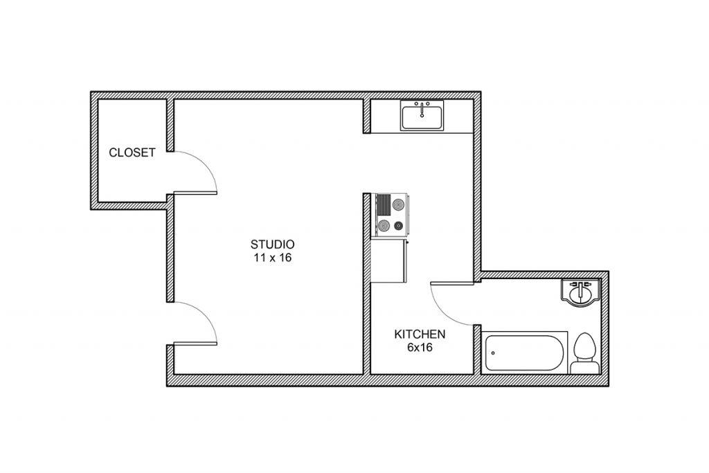 Haddon, Studio Floor plan, Rochester NY