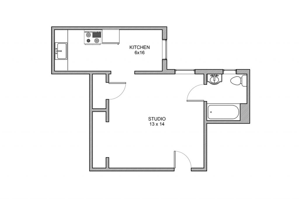 Haddon, Studio Apartment, Studio Floor Plan