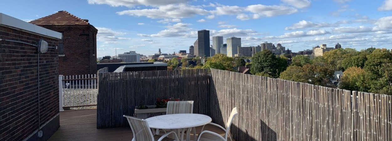 Rooftop garden view of Rochester from Hanna Properties