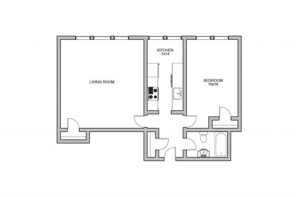 Shelbourne, One Bedroom Floor plan, Rochester NY