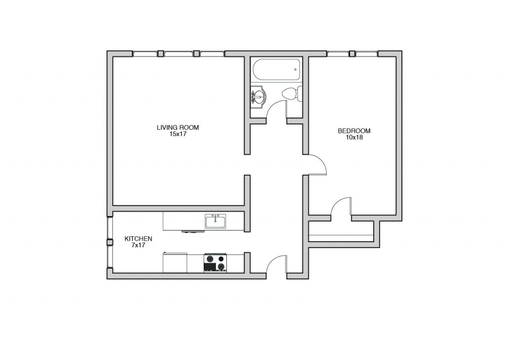 Shelbourne, One Bedroom Floorplan