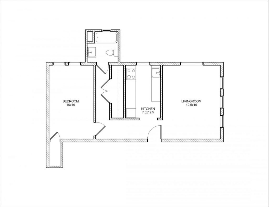 Whittier 1 Bedroom Floor Plan