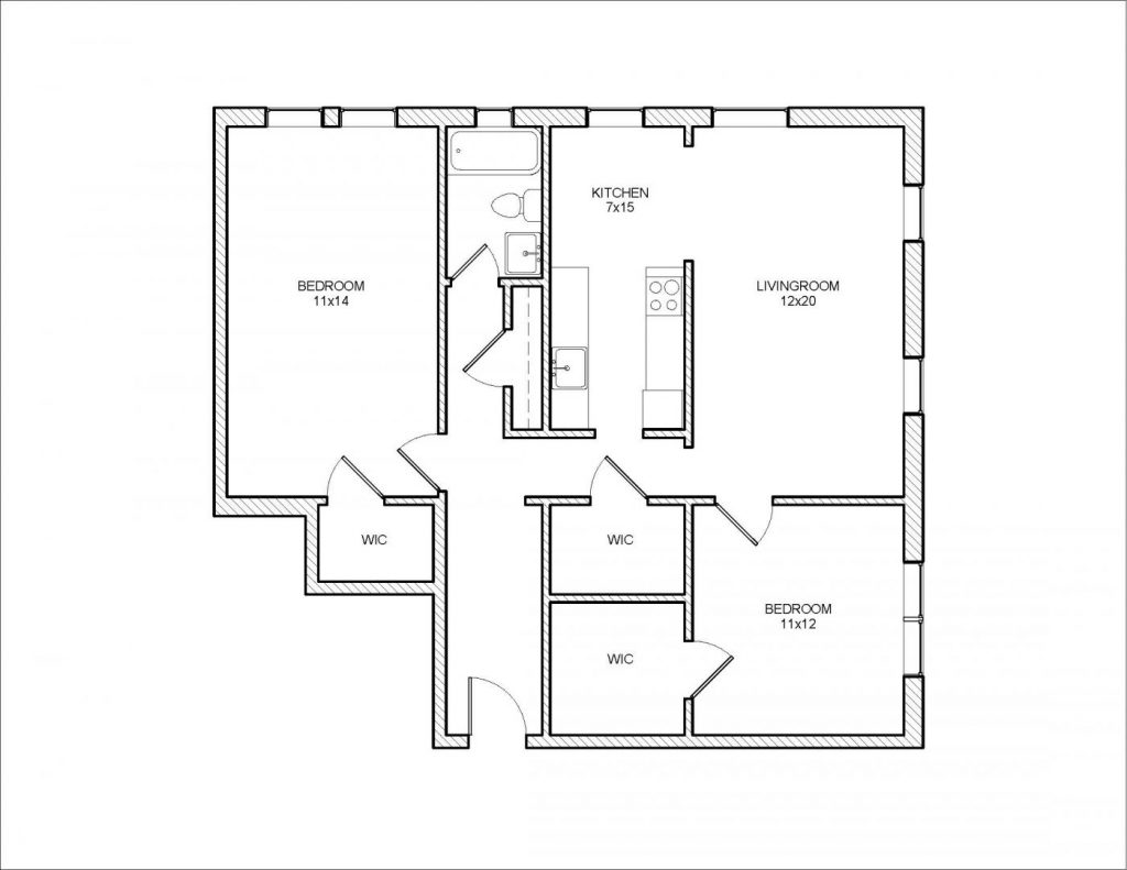 Whittier 2 Bedroom Floor Plan