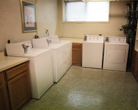 6 coin operted waashers and dryers in the Whittier laundry room